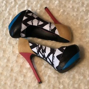Mixed Media Platform Pumps